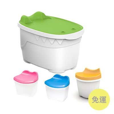 嘴鱷兒童收納桌椅組-鱷魚桌x1+黃貓椅x1+ 蛙椅x2(粉紅+粉藍)