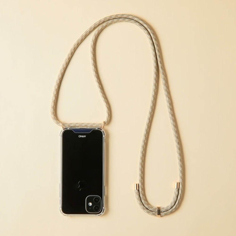 韓國 ARNO - 編繩背帶透明手機殼-氣質杏