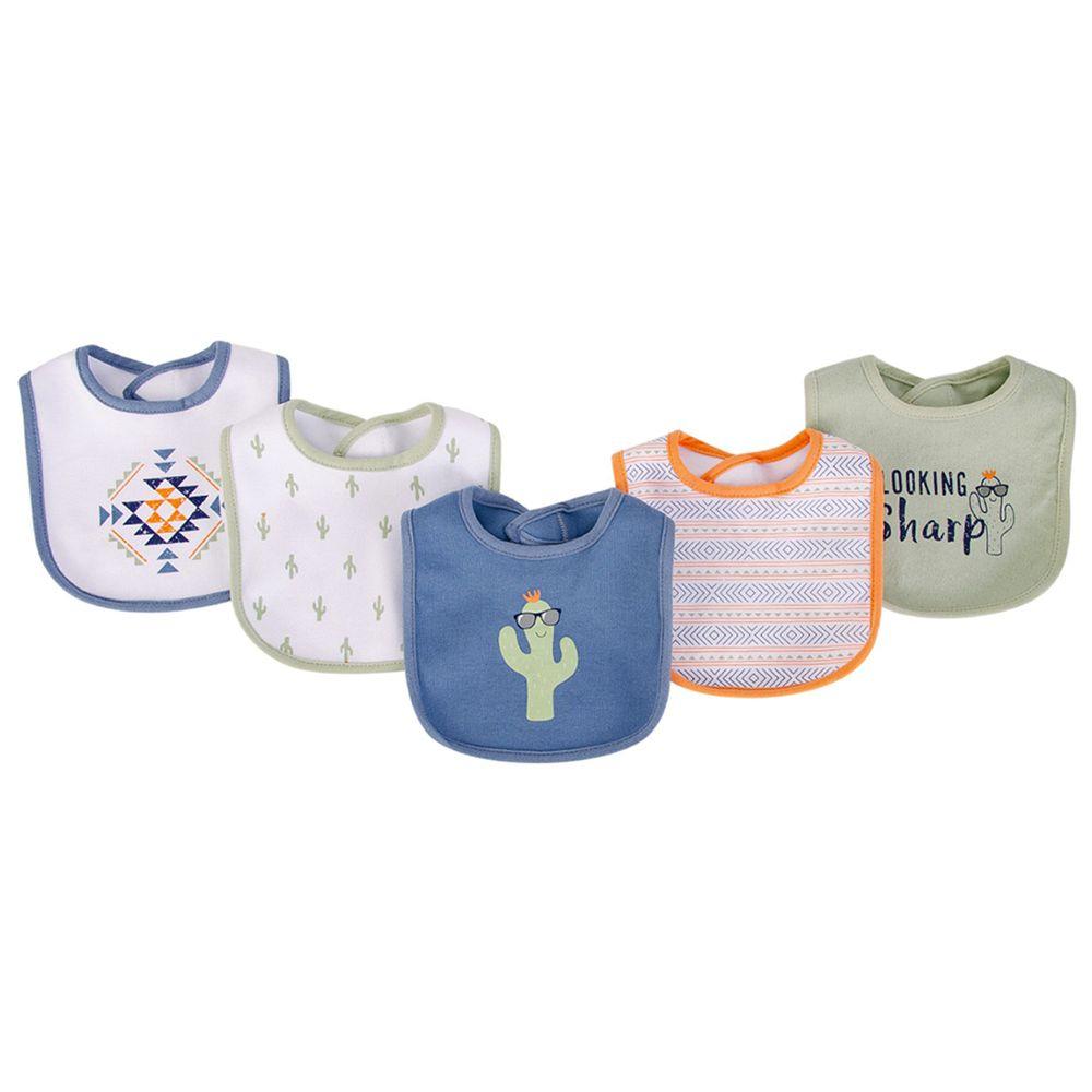 美國 Luvable Friends - 嬰幼兒雙層吸水口水巾圍兜5入組-搖擺仙人掌