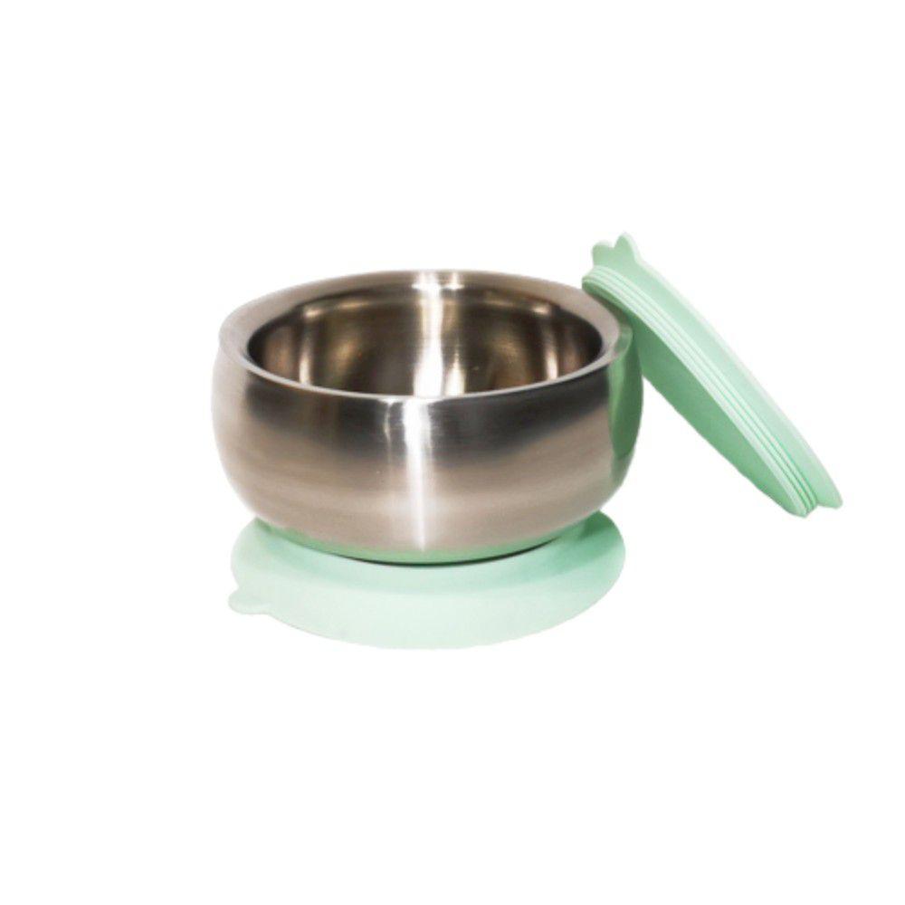 美國little.b - 316雙層不鏽鋼吸盤碗-小芽綠-(碗*1, 上蓋*1, 吸盤*1)