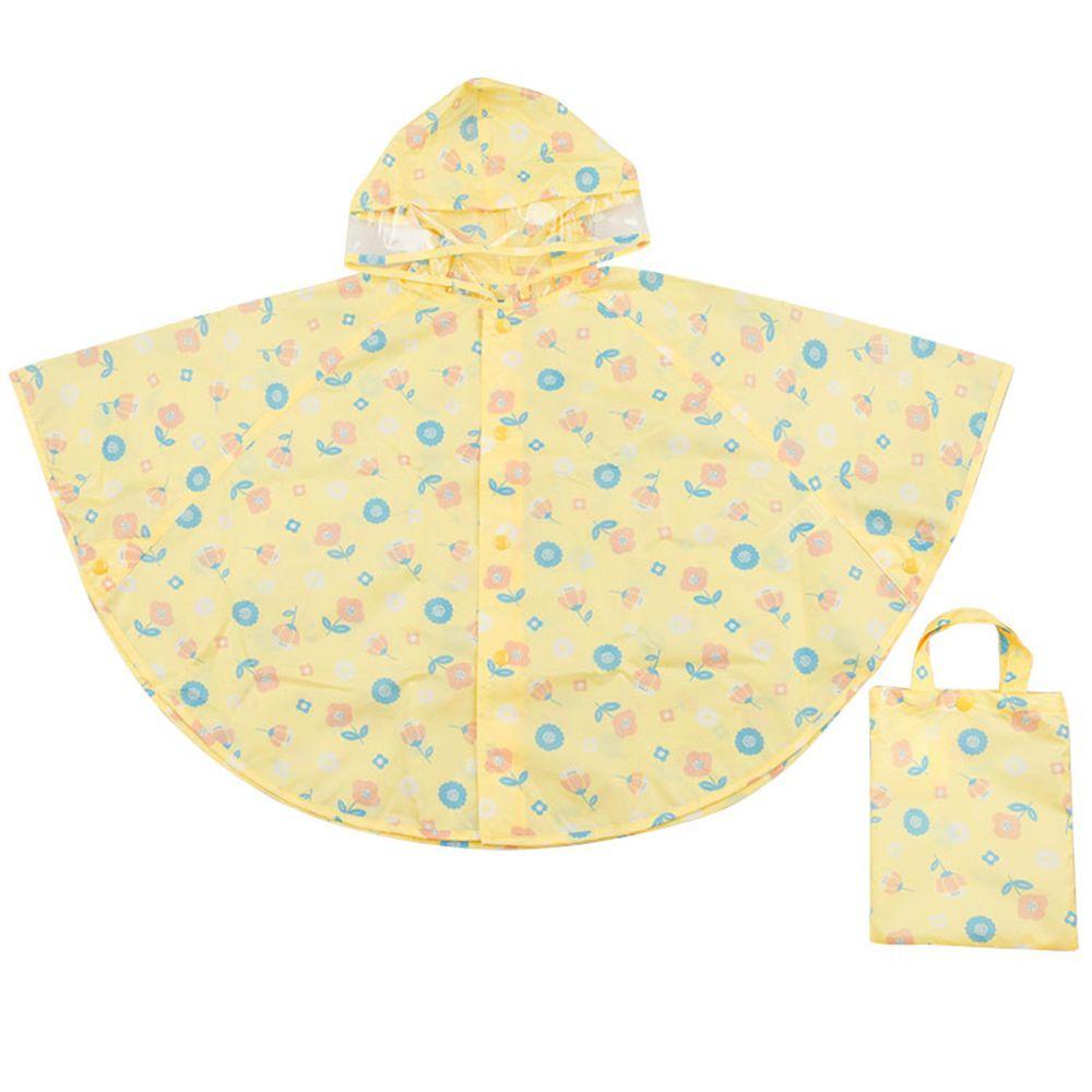 akachan honpo - 短斗篷式雨衣-小花-奶油色 (80~95cm)
