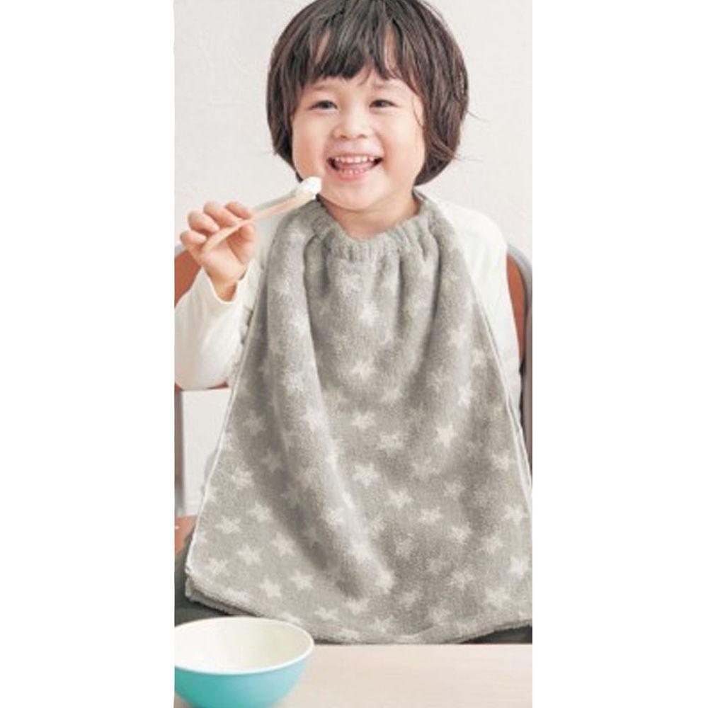 日本千趣會 - 毛巾圍兜2件組-星星-灰 (長(34x42.5cm(雙層)))