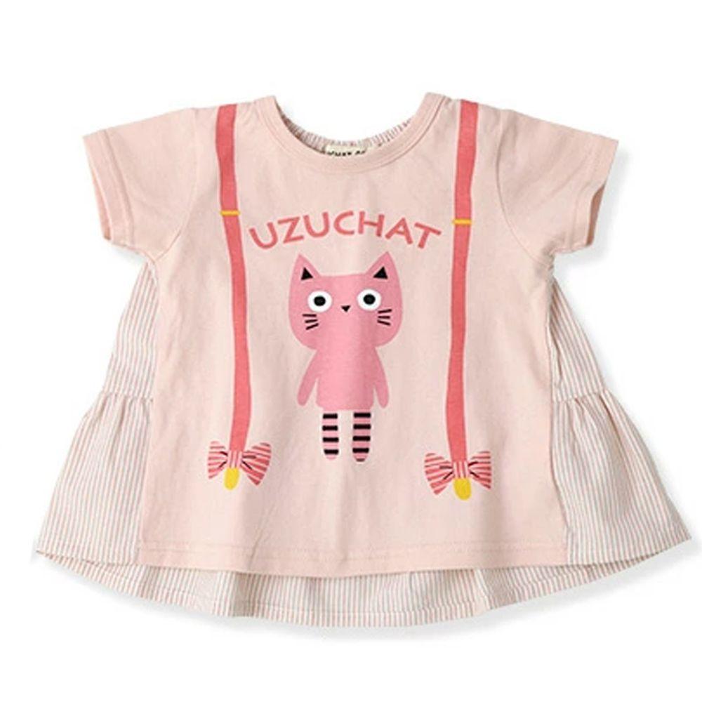 日本 ZOOLAND - 純棉拼接短T-小粉貓吊帶裙-粉