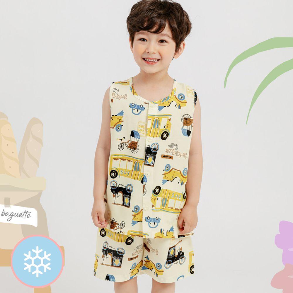 韓國 Mellisse - 韓製涼感嫘縈無袖睡衣/家居服-黃色車車