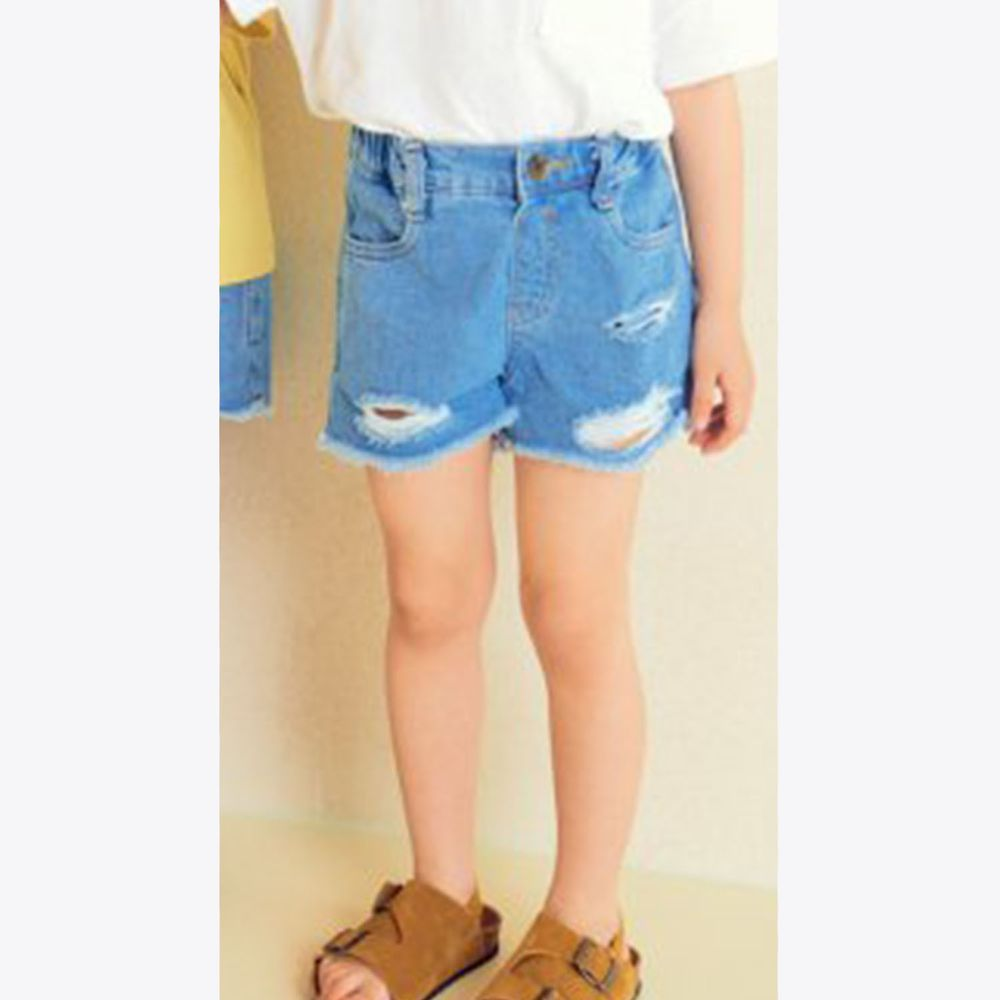 韓國 Hanab - 刷破牛仔短褲