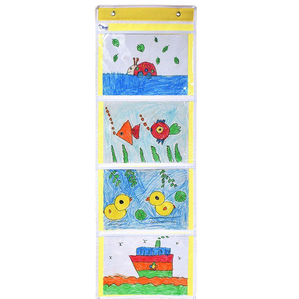 牛津布美術文件通告掛袋-A4橫款四格-黃色 (35*101cm)