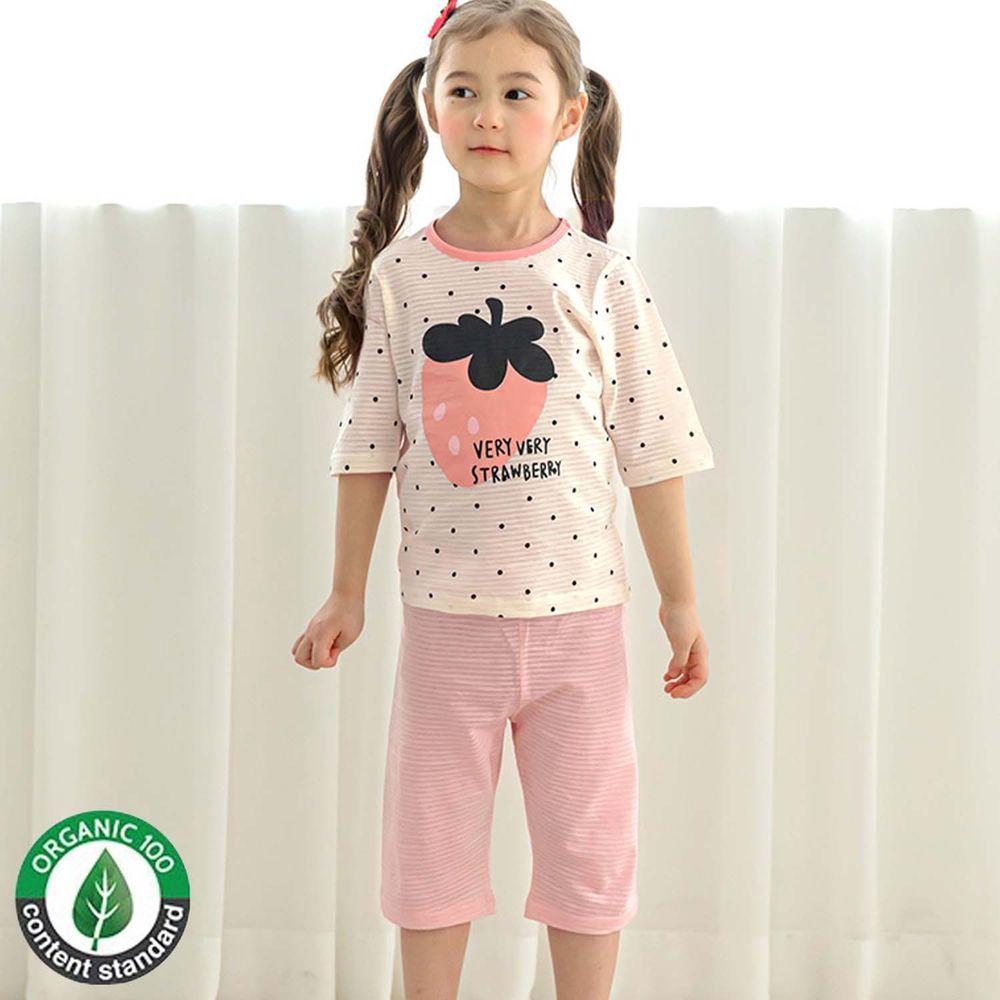 韓國 Maykids - 有機棉緹花七分袖家居服-粉紅草莓