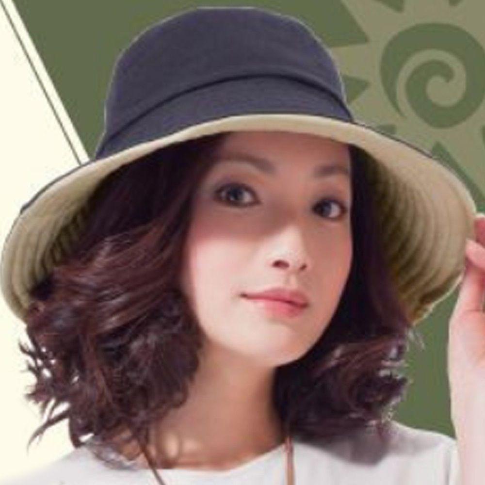 日本 SUN FAMILY - 12cm帽簷可折疊兩面抗UV遮陽帽-黑x米 (頭圍57.5cm內)