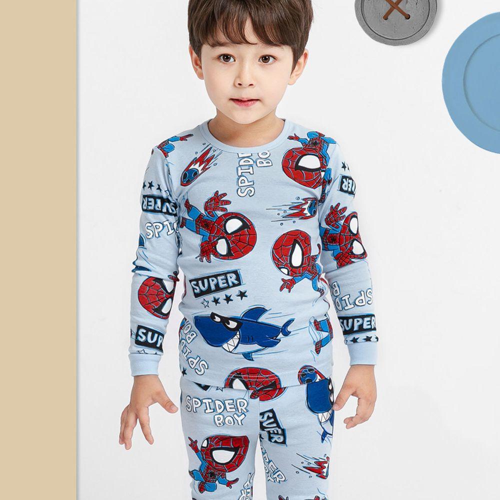 韓國 Mellisse - 韓製30支無螢光棉長袖家居服-蜘蛛人與鯊魚