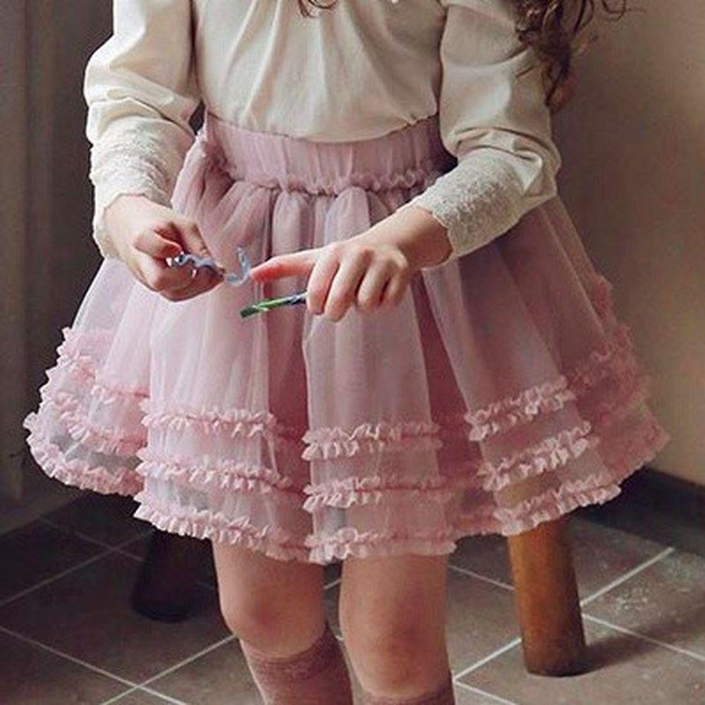 韓國 PuellaFLO - 三層花邊網紗短裙-粉紅