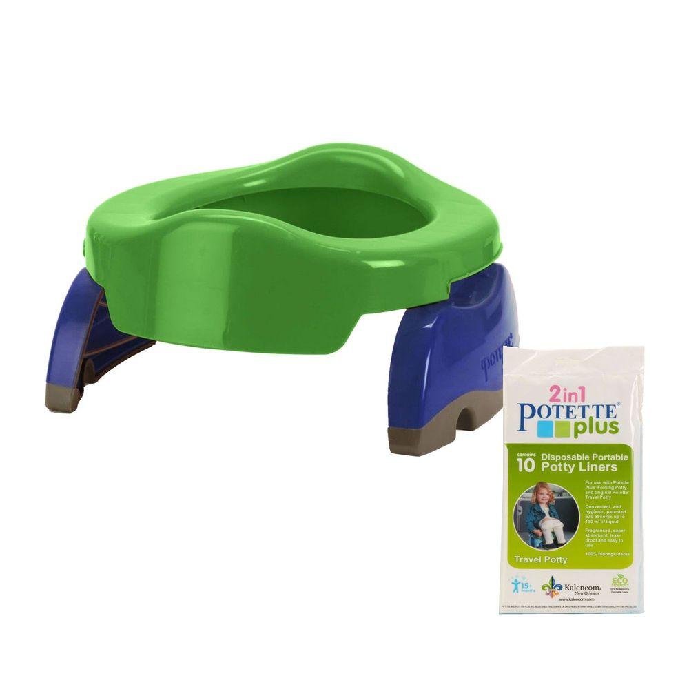 美國 Potette Plus - 可攜式馬桶-綠色+拋棄式防漏袋10入裝)