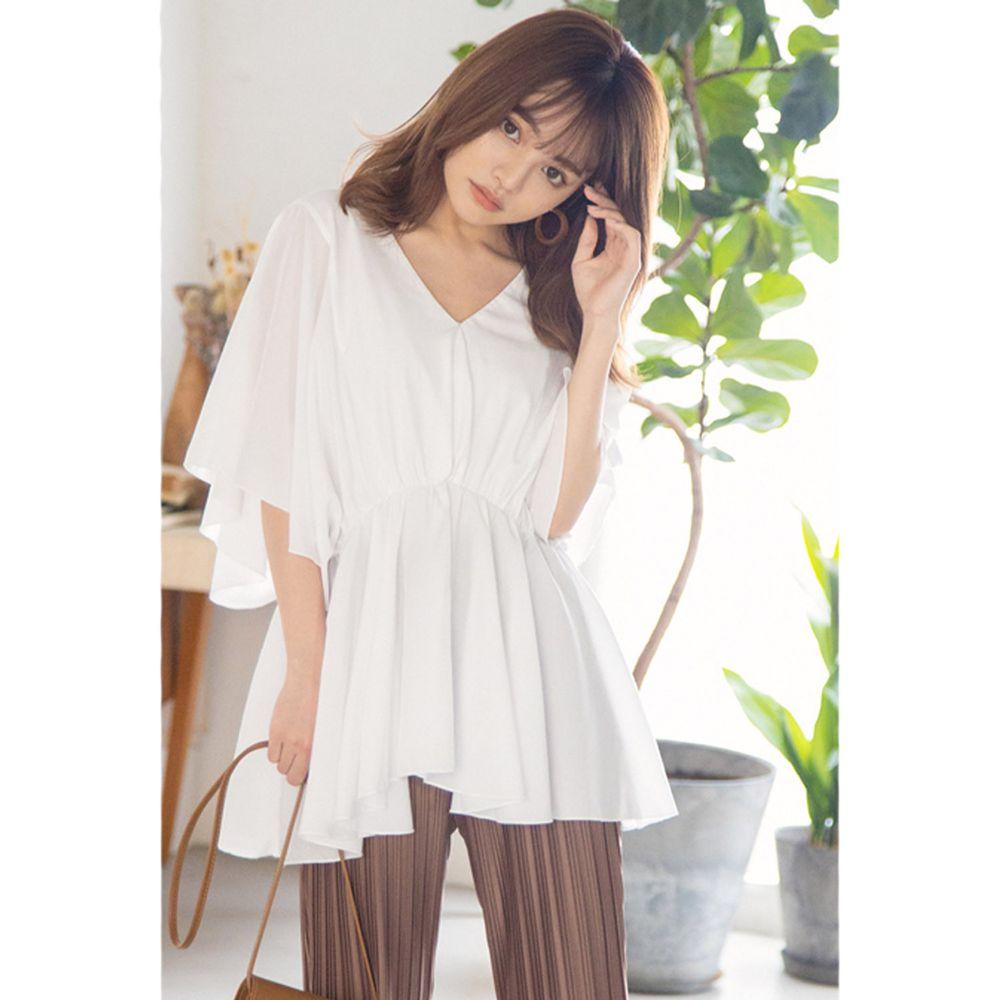 日本 GRL - 慵懶飄逸大荷葉V領長版上衣-天使白 (F)