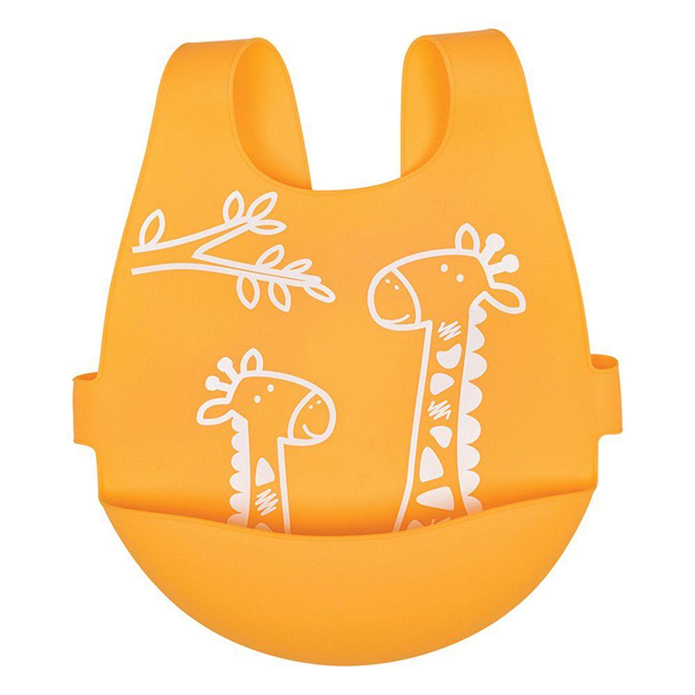 英國 JoJo Maman BeBe - 矽膠防掉落食物袋穿式圍兜-長頸鹿遊玩