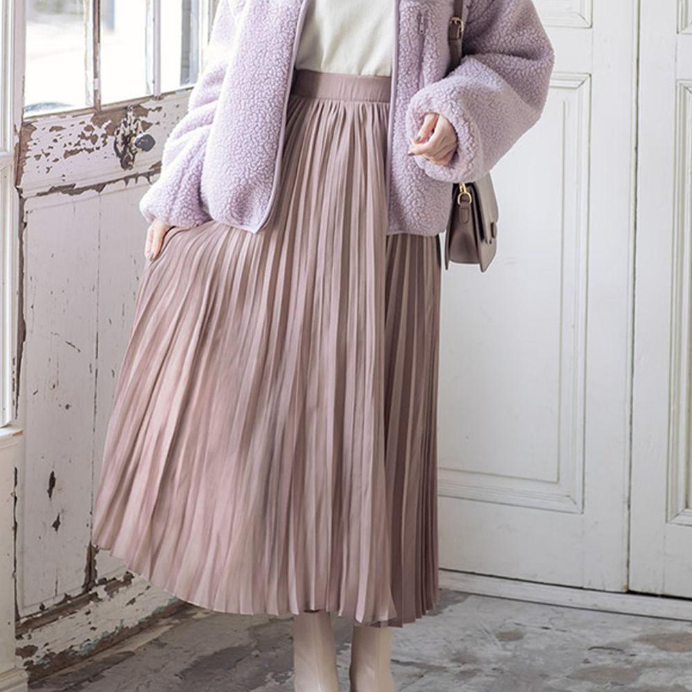 日本 GRL - 明星聯名款 光澤感緞面百褶長裙-杏
