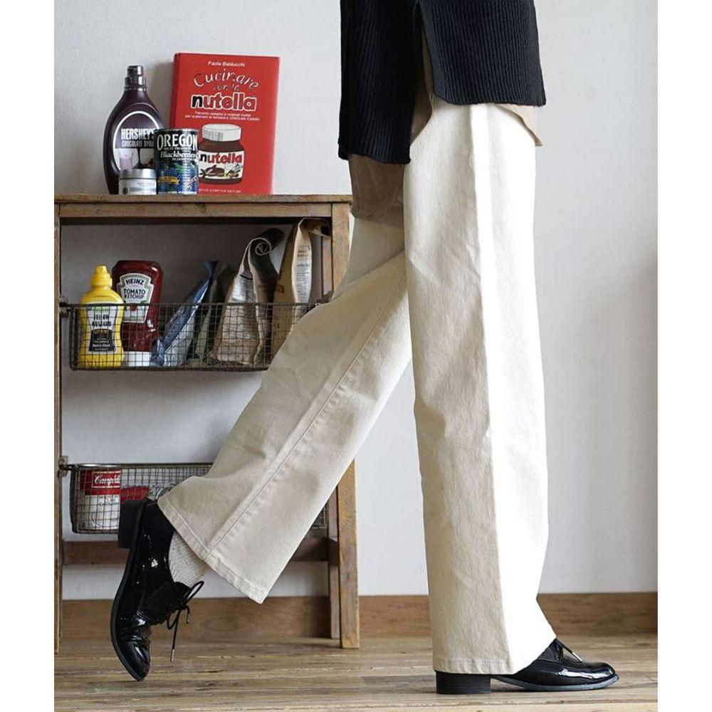 日本 zootie - 直筒百搭寬褲(腰圍可調節)-米