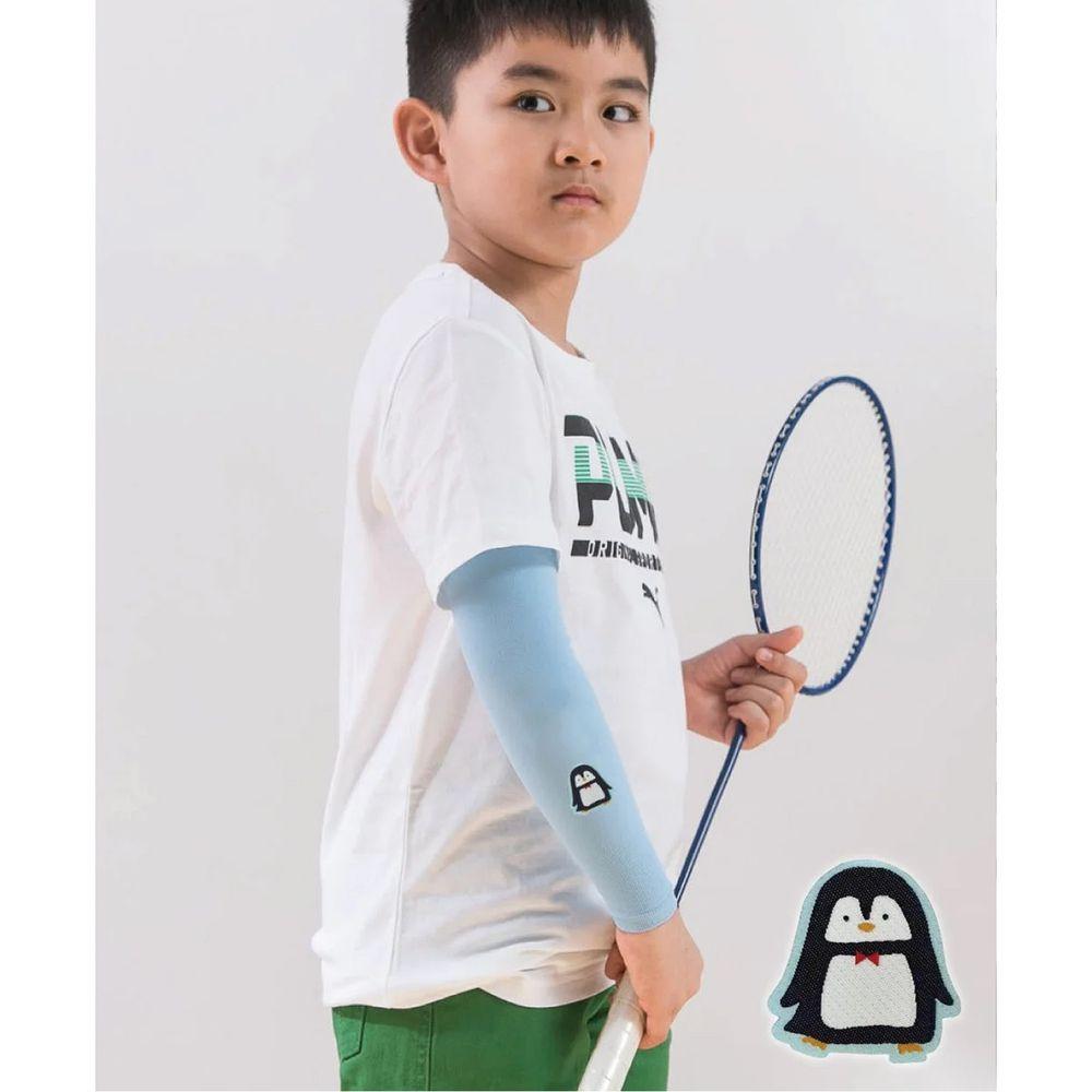 貝柔 Peilou - UPF50+兒童高效涼感防蚊抗UV袖套-(貼布繡)-企鵝-水藍 (F)