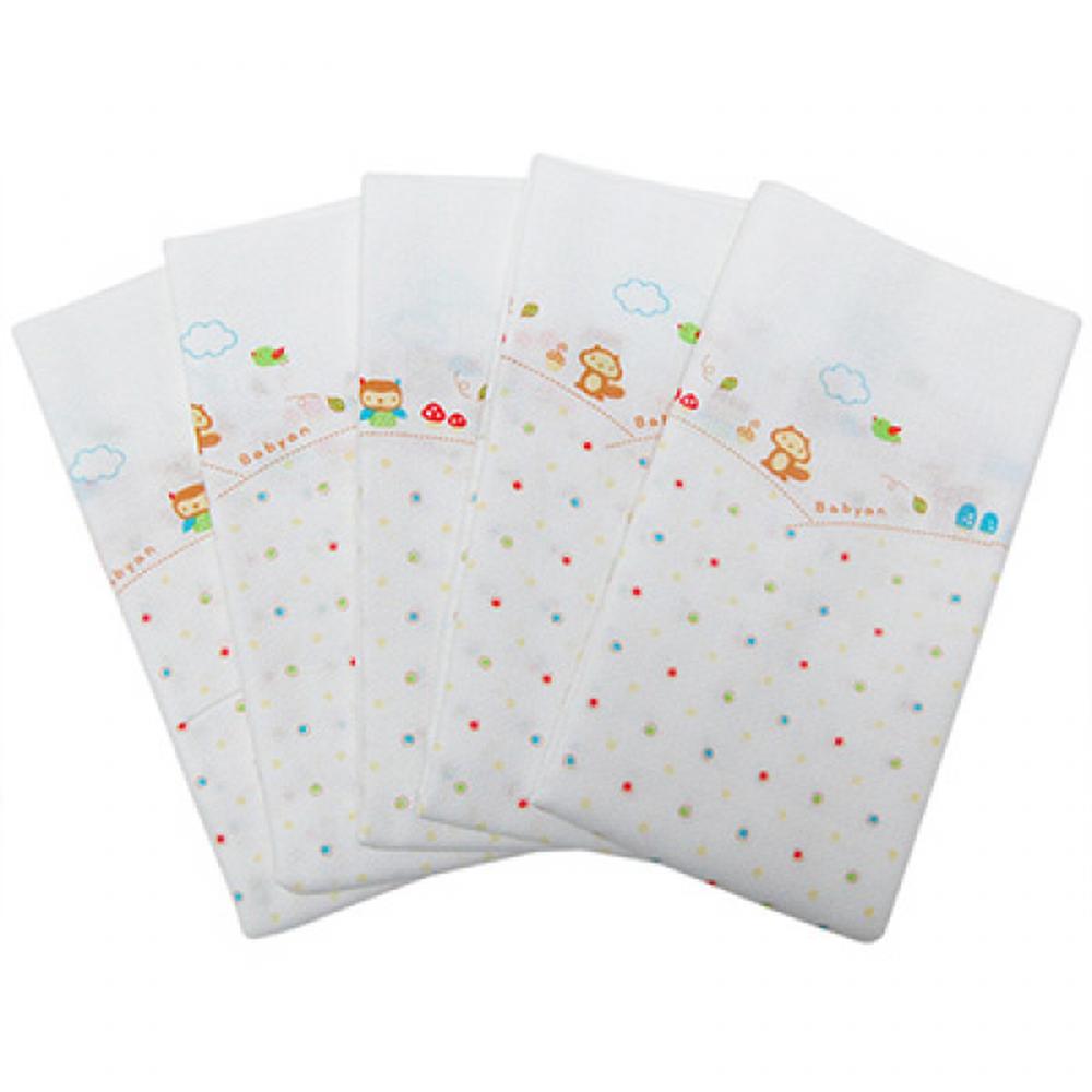 babyan - 100%純棉澡巾(5入)-松鼠點點 (90x110cm)
