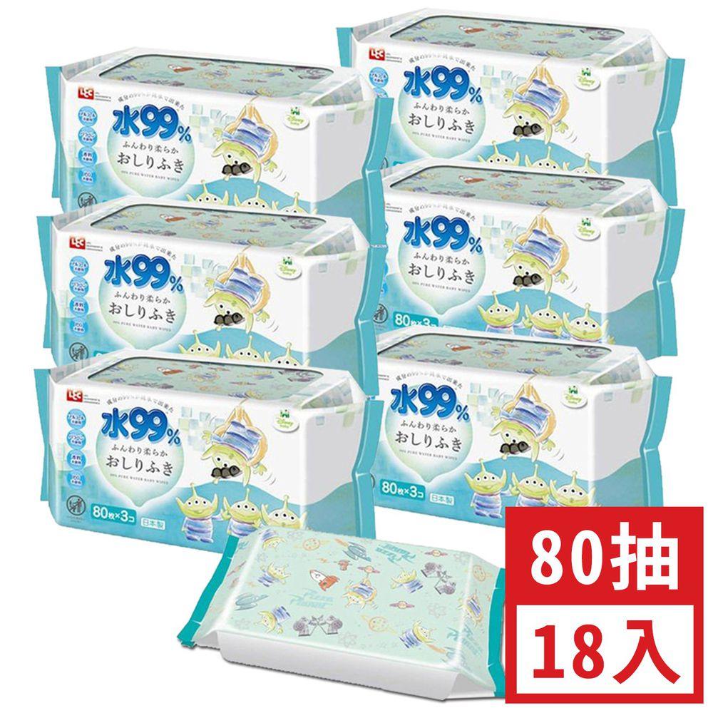 日本 LEC - 純水99%一般型擦屁屁濕紙巾-新款迪士尼-三眼怪-18包入箱購組(免運)-80抽x18包入