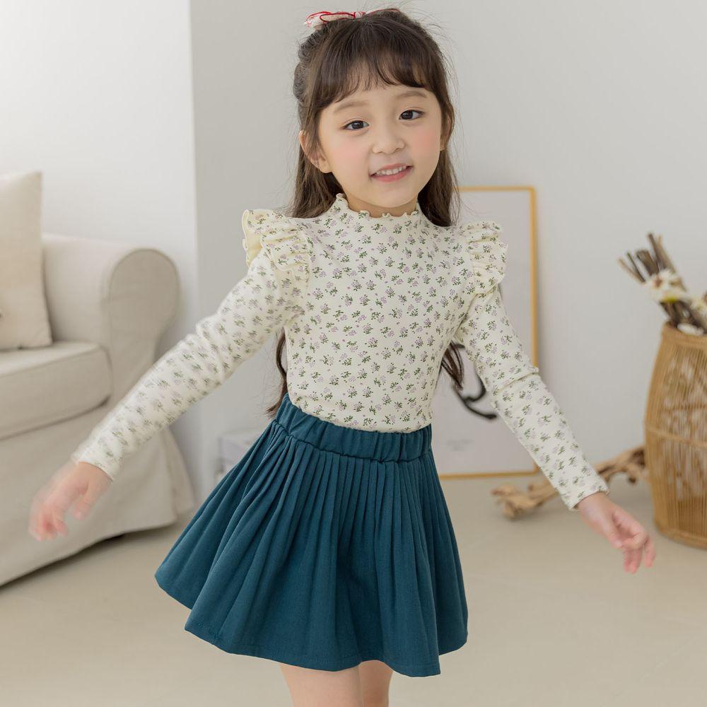 韓國 Orange Mom - (現省$50)清新香草套裝-米白上衣X藍綠裙