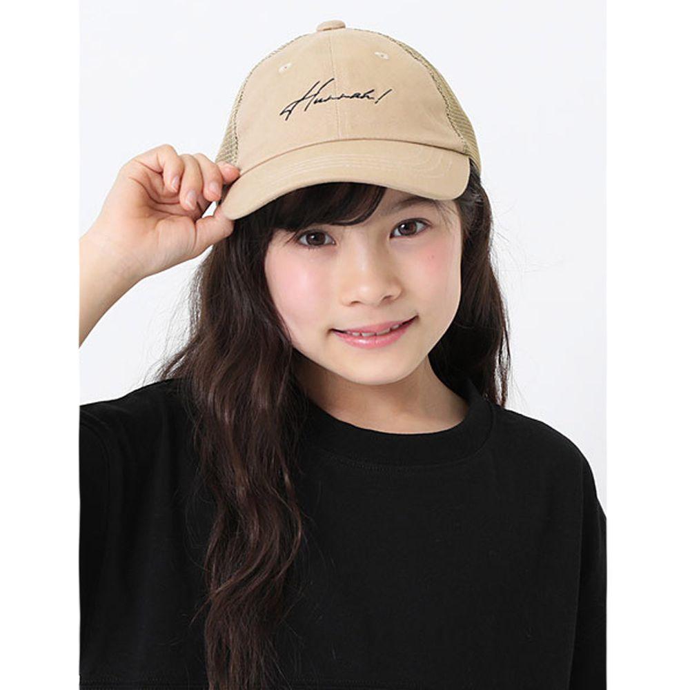 日本 devirock - 復古刺繡透氣兒童鴨舌帽-杏
