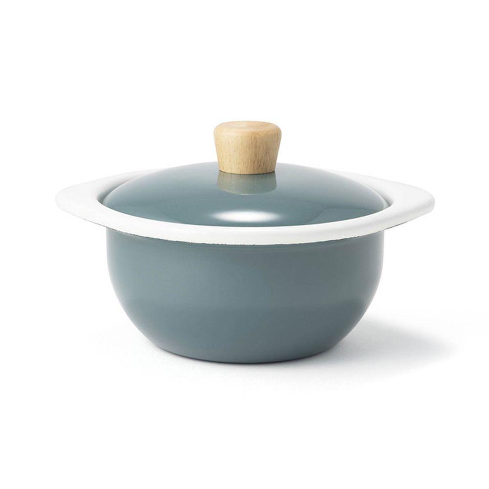 FUJIHORO 富士琺瑯 - 簡約系列-15cm迷你琺瑯附蓋鍋-煙霧藍-容 量:1.2L 重量:0.74kg