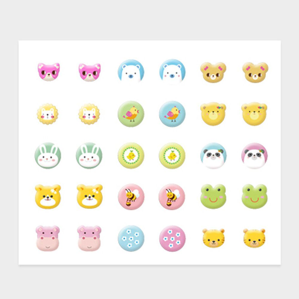 韓國 Pink Princess - 無毒兒童耳環貼(一張30貼)-春日動物園