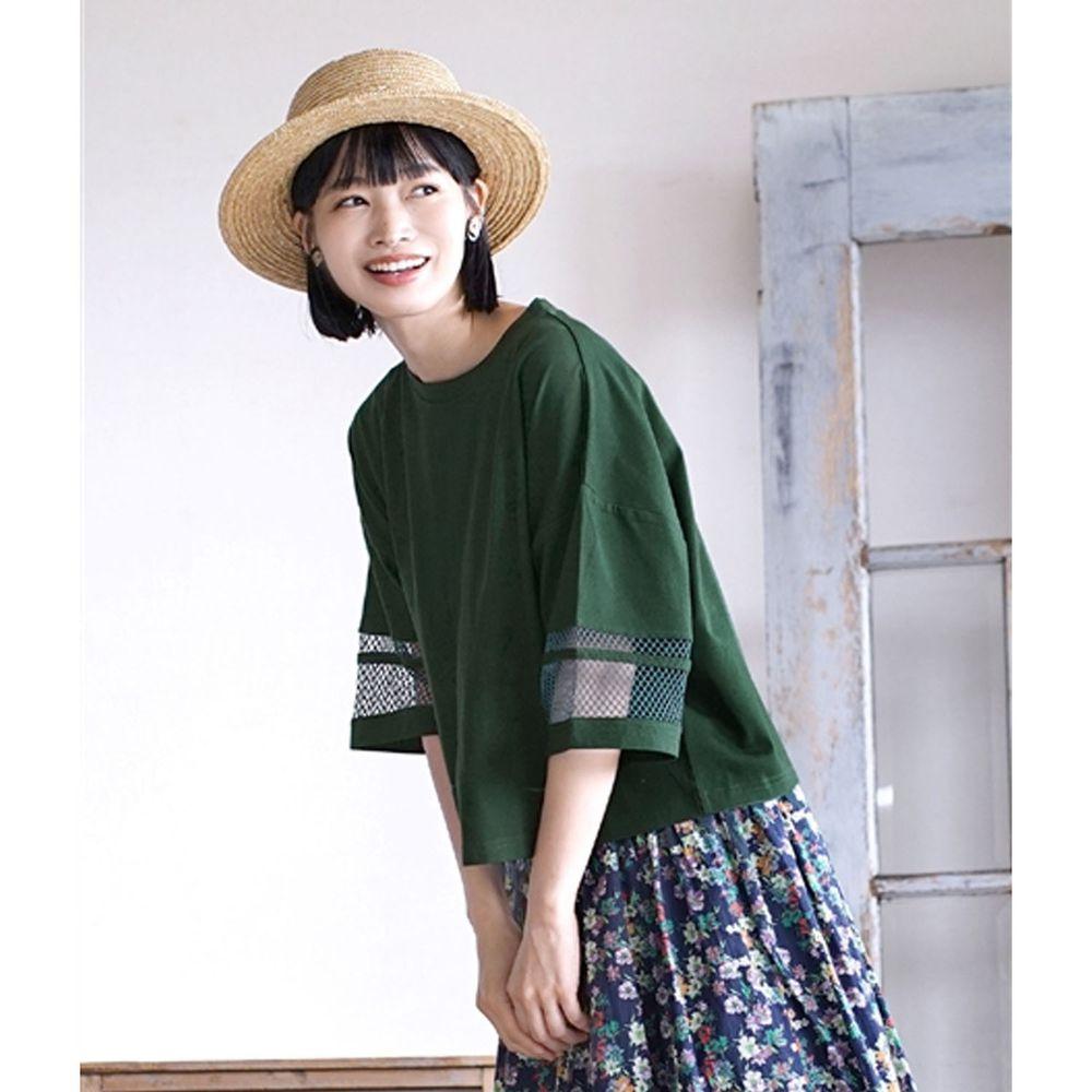 日本 zootie - 網格拼接五分袖寬版上衣-墨綠