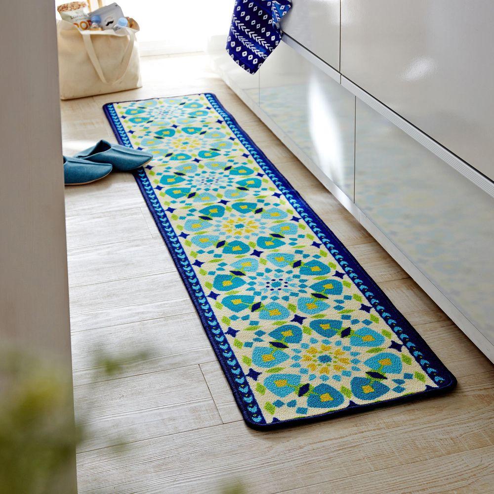 日本千趣會 - 長條型腳踏墊(廚房/臥室)-藍綠色系花朵圖騰