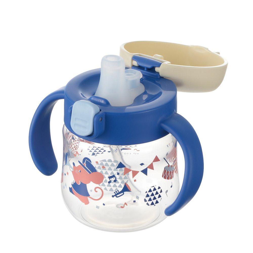 日本 Richell 利其爾 - 鼠樂團鴨嘴吸管水杯-150ML-藍/粉-5個月適用