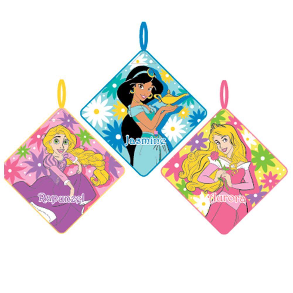 日本代購 - 卡通可掛式方巾/擦手巾三件組-長髮公主X茉莉X睡美人 (28x28cm)