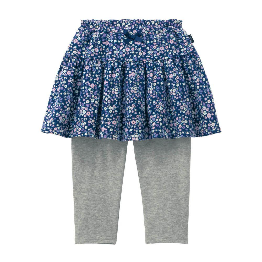 日本千趣會 - GITA 防曬接觸冷感七分內搭褲裙-碎花-深藍灰