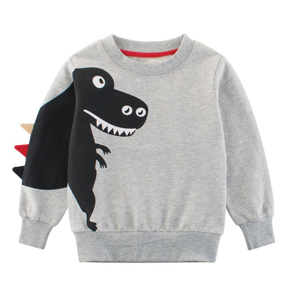 純棉長袖T恤-恐龍偷偷摸摸-灰色