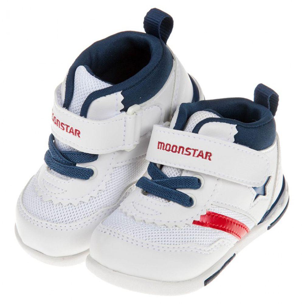 Moonstar日本月星 - 白藍色閃亮之星兒童機能運動鞋
