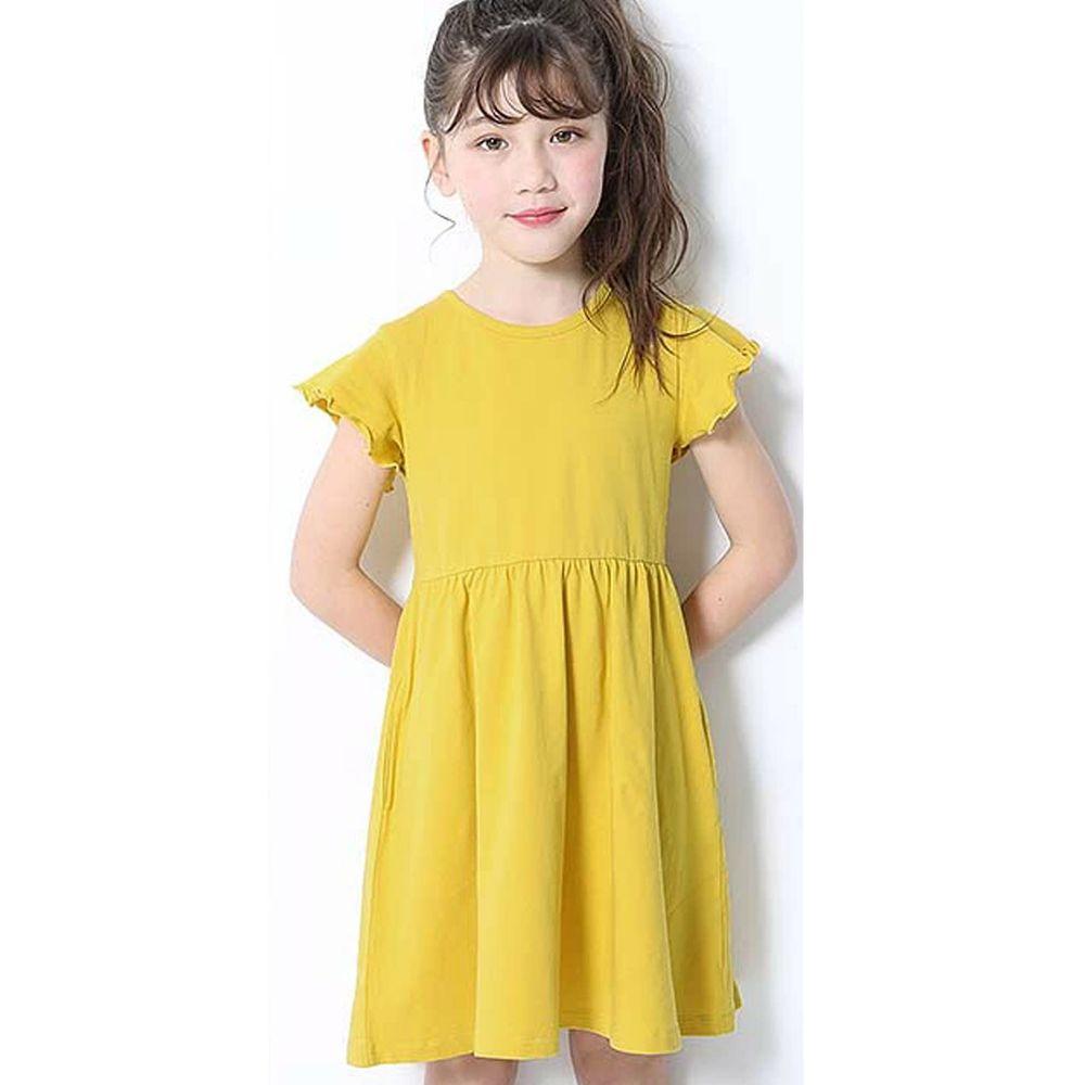 日本 devirock - 純棉木耳邊短袖小洋裝-檸檬黃