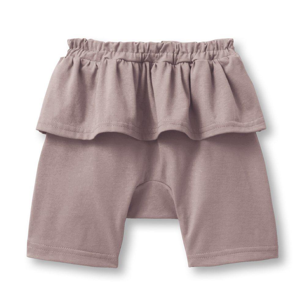 日本千趣會 - 天竺棉荷葉邊五分褲(小童)-粉褐