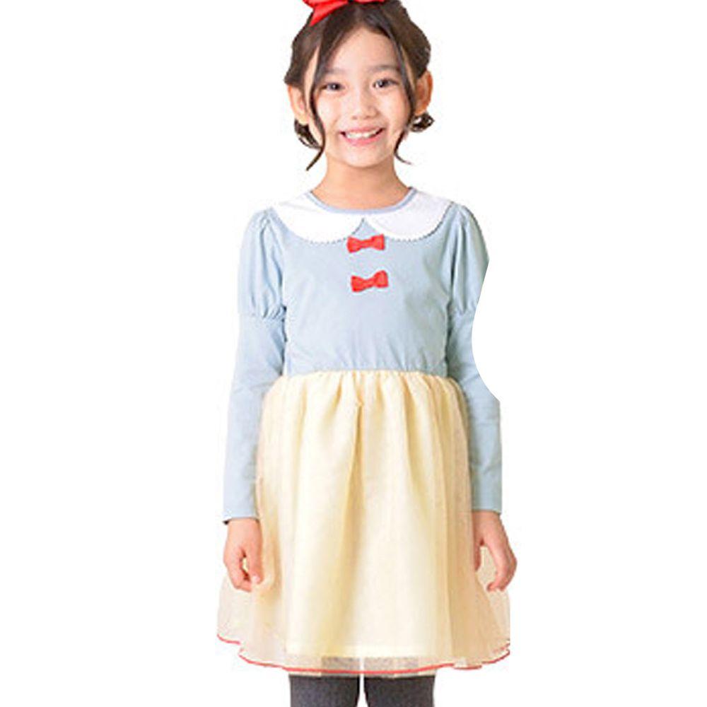 日本 TORIDORY - 公主風薄紗長袖洋裝-藍黃色系