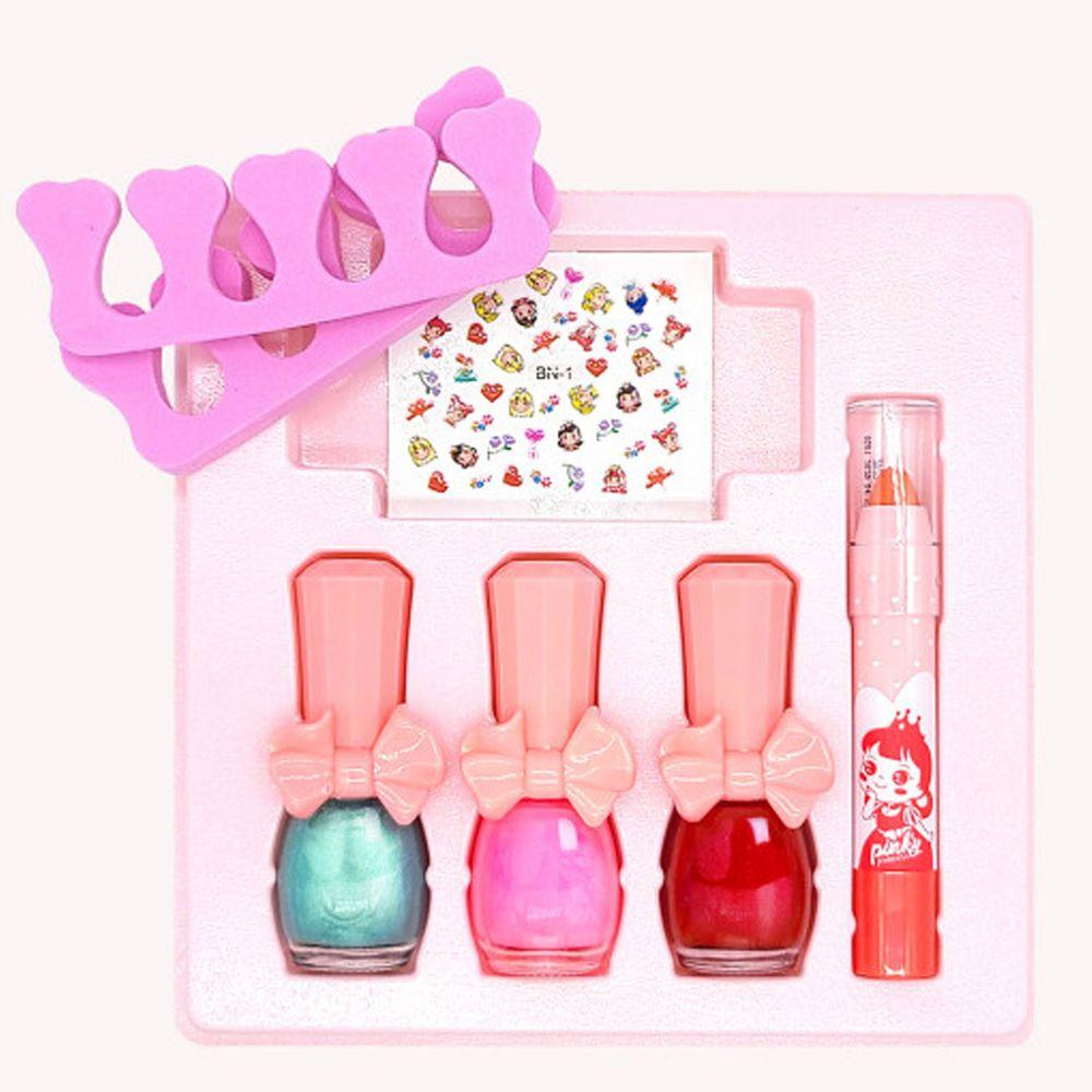 韓國 Pink Princess - 愛心禮物盒(指甲油*3, 護唇膏*1, 指甲貼*1, 分指套*1)-Set B