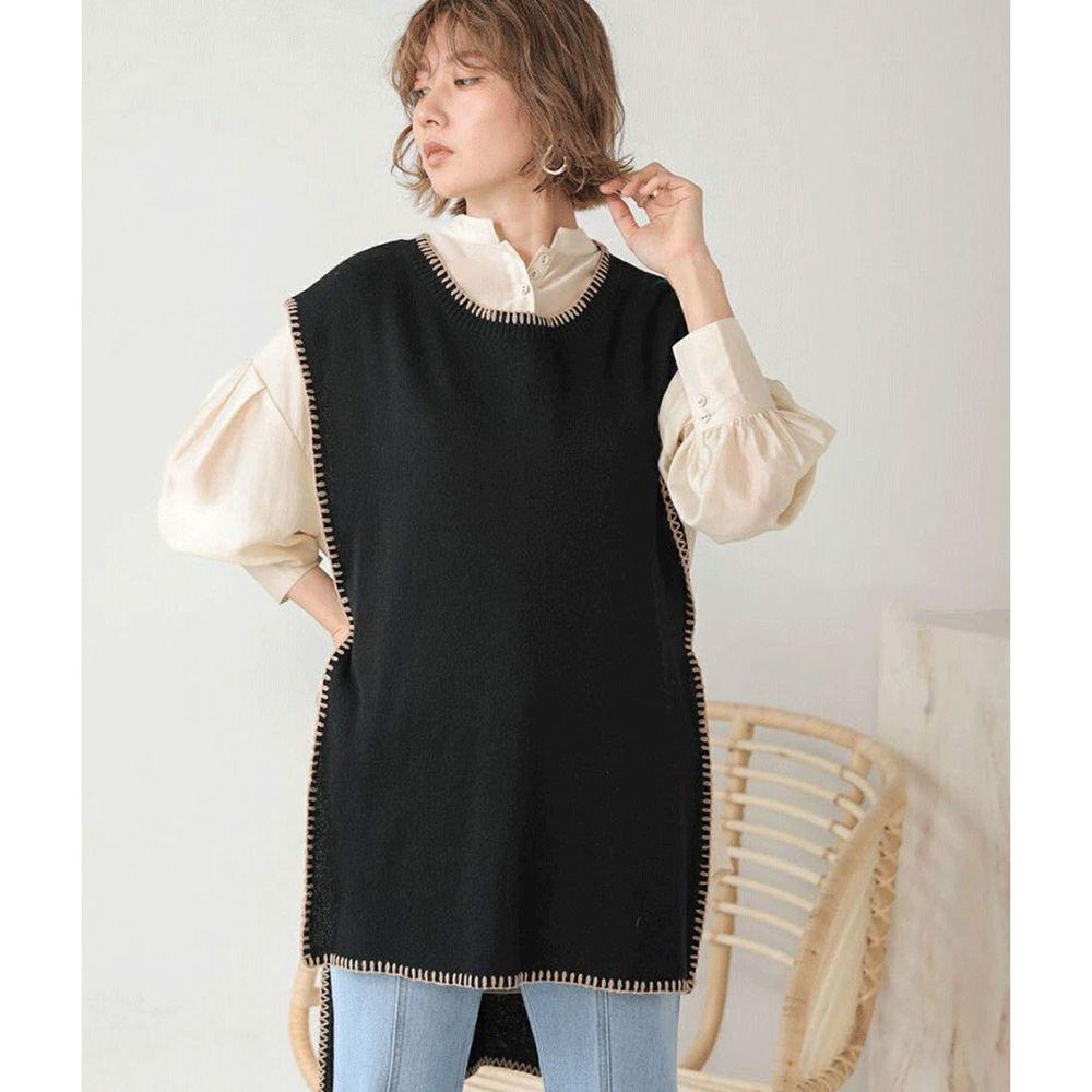 日本 Bou Jeloud - 縫線撞色設計長版針織背心-黑