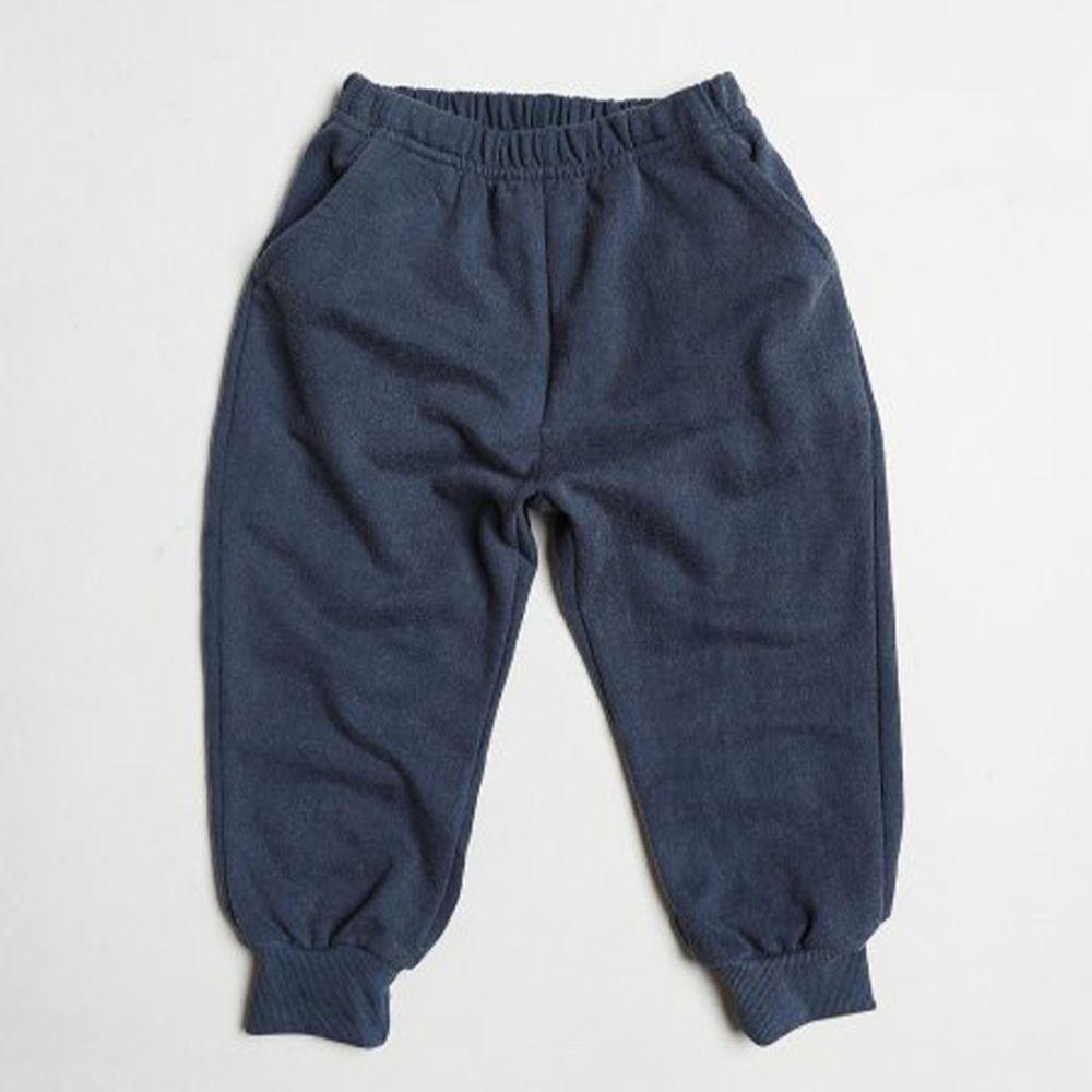 韓國 Dream Baby - 水洗加工棉雙口袋縮口褲-深藍