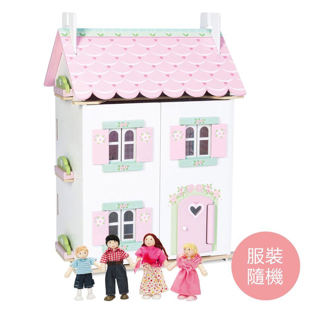 英國 Le Toy Van - 甜心渡假娃娃屋 (精品裝潢含家具)-送娃娃家族-拔拔, 麻麻與兩個小孩(服裝搭配隨機)