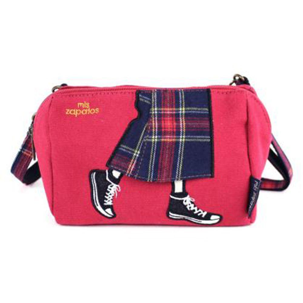 mis zapatos - 斜背美腿包(帆布)-蘇格蘭裙-PI粉色 (14*18*9cm)