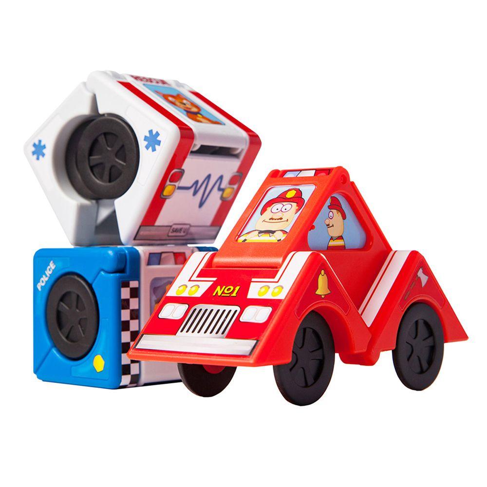 美國 FatBrain - 英雄百變積木車-共3輛