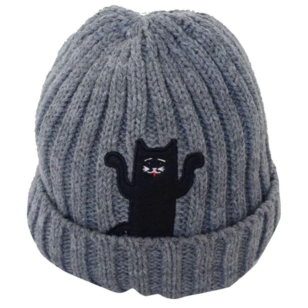 日本 GRIN BUDDY - 逗趣動物徽章針織毛帽-灰X貓 (53cm)