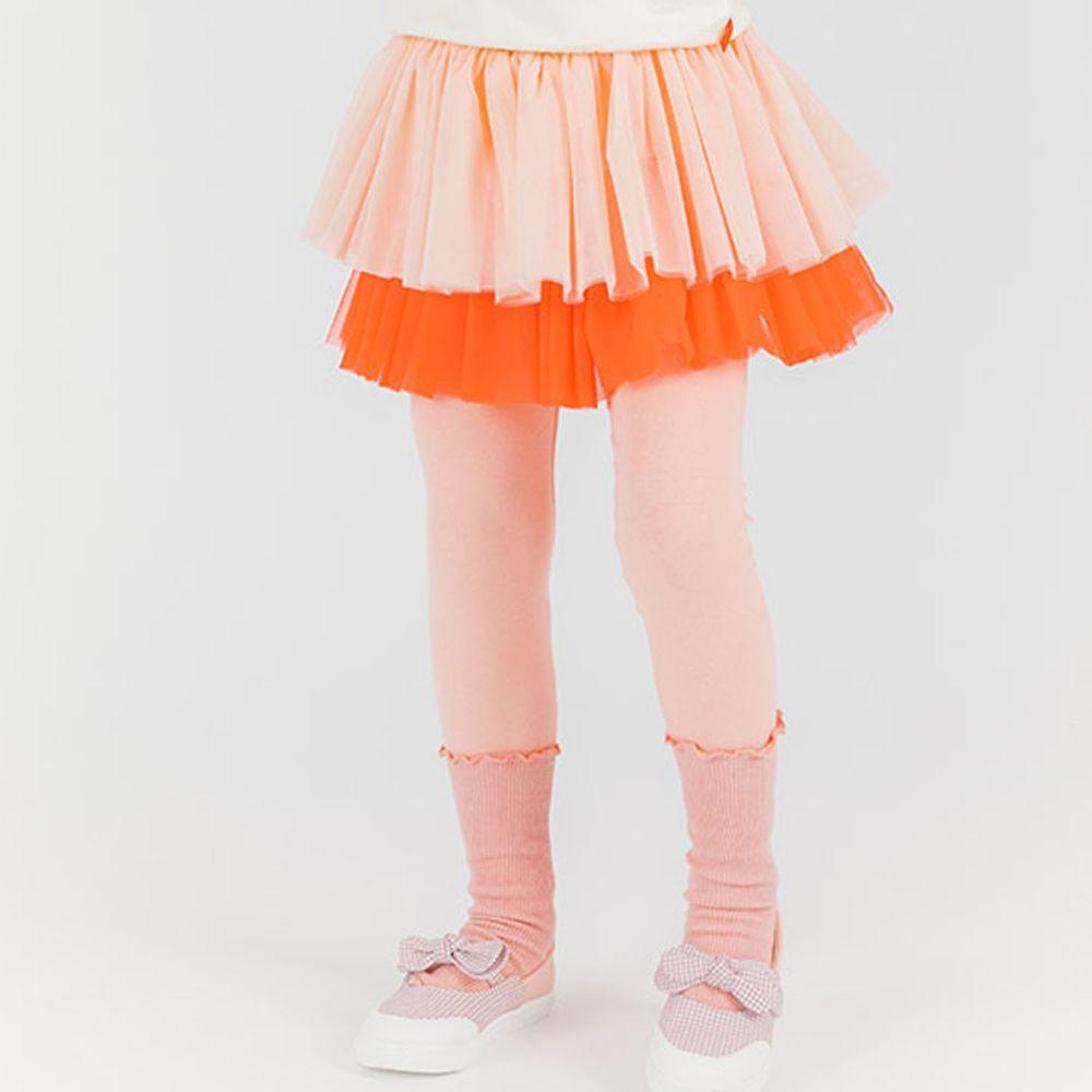 韓國 OZKIZ - 粉紅雙層網紗褲裙