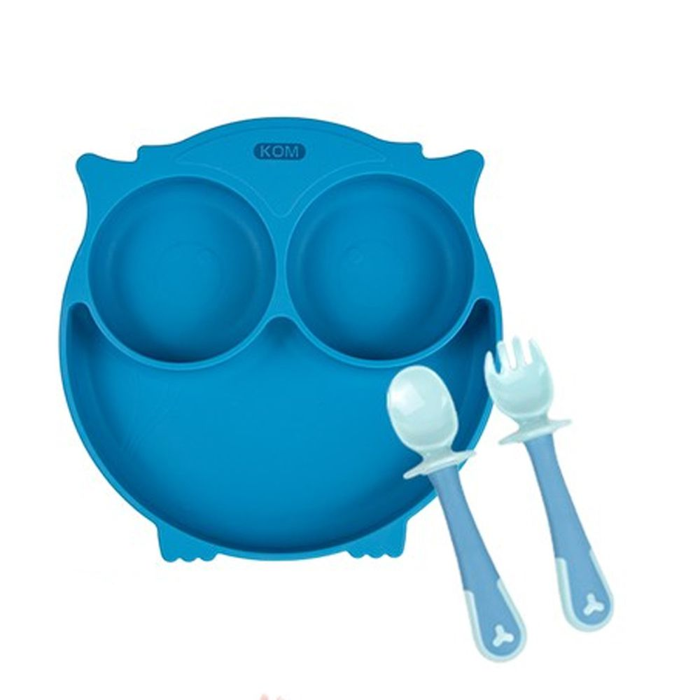 KOM - 矽膠兒童防滑餐盤+學握匙(一入組)-貓頭鷹(無蓋)-藍