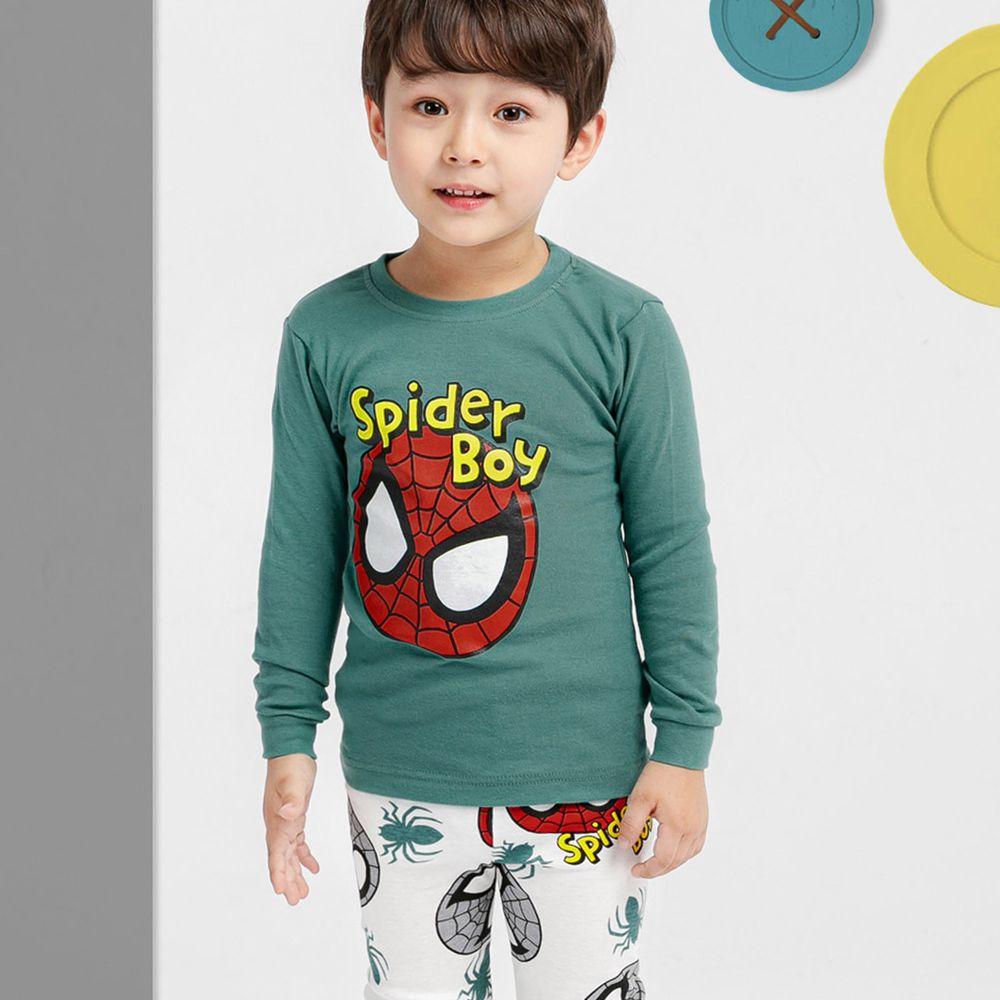 韓國 Mellisse - 韓製30支無螢光棉長袖家居服-綠色蜘蛛人