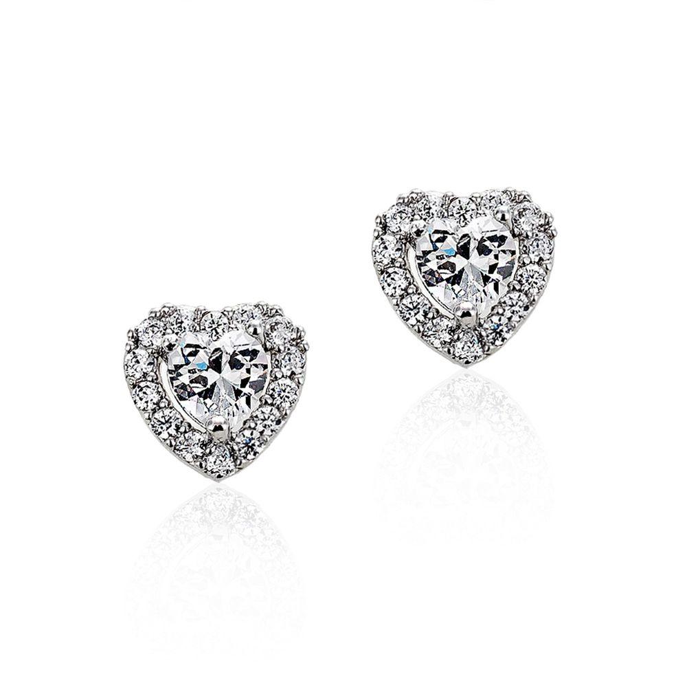 美國ILG鑽飾 - Hearts 輕時尚 愛心耳環 0.50克拉-頂級美國ILG鑽飾,媲美真鑽亮度的鑽飾-加贈高級珠寶級絨布盒1個-s925純銀外層電鍍頂級白K金