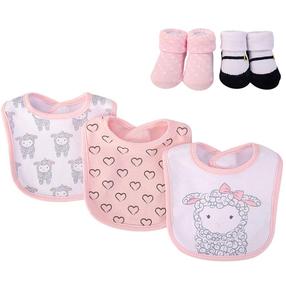 美國 Luvable Friends - 嬰幼兒吸水口水巾圍兜與短襪組-粉綿羊