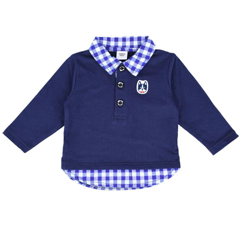 akachan honpo - 長袖假兩件休閒上衣-深藍色