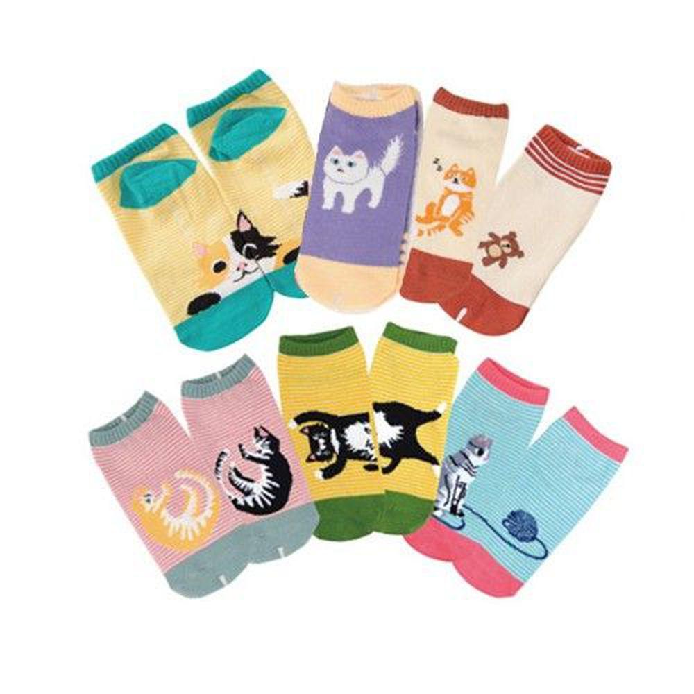 貝柔 Peilou - 貓日記萊卡船型襪6入組-隨機款-隨機色 (22-26cm)